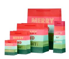 Now Available! Merry and Bright Large Bag. Gorgeous color combination with gold foil writing!