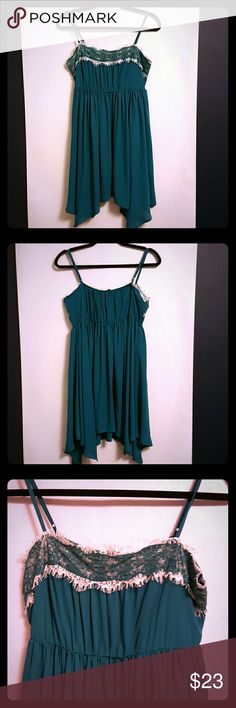 Doe & Rae Turquoise Slip Dress Doe & Rae Turquoise Slip Dress, Size Large, Empire Waist, Adjustable Straps, Asymmetrical Bottom Length from top of dress to shortest part of bottom is 26 inches Doe & Rae Dresses Asymmetrical
