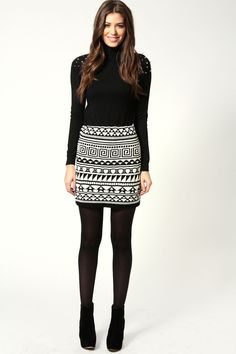 Lysa Aztec Print Thick Knitted Mini Skirt  US$24.00   BooHoo.com