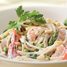 Toss a garlicky, Middle Eastern-inspired yogurt sauce with pasta, shrimp, asparagus, peas and red bell pepper for a fresh, satisfying summer meal. Serve with: Slices of cucumber and tomato tossed with lemon juice and olive oil.
