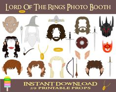Lord Of The Rings Photo Booth Props–29 Pieces-Printable Hobbit Props-Aragorn,Baggins,Gandalf,Gamgee,Arwen,Legolas,Sauron-Instant Download