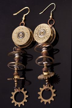 One of A Kind Ammo Shot Gun Shell-Get It In Gear- Steampunk, Funky and Hip Dangle Earring
