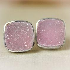 Rosy Pink Druzy Stud Earrings