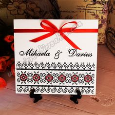 "Invitatie nunta cu Motive Traditionale ""Hora Fete"" - Invitatii Creative"