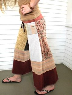 Upcycled Clothing...patchwork Goucho pants! I used to have a pair a friend made and now they are gone. Guess it's time to bust out the sewing machine