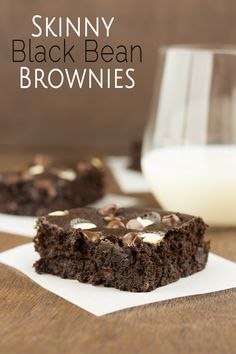 Skinny Black Bean Brownies - I substituted the milk with almond milk, added 1 tsp. vanilla, added 10 drops of dark chocolate liquid stevia extract and used non-dairy chocolate chips, so they are gluten and dairy free Healthy Desserts, Just Desserts, Delicious Desserts, Dessert Recipes, Yummy Food, Healthy Food, Healthy Eating, Clean Eating, Healthy Recipes