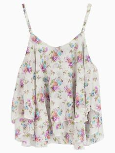 White Floral Crop Top with Adjustable Spaghetti Straps - Floral Print