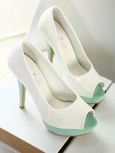 Chic Color Block Peep Toe High Heel Fashion Shoes