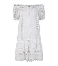 CHARO RUIZ Crochet Panel Short Sleeve Dress. #charoruiz #cloth #