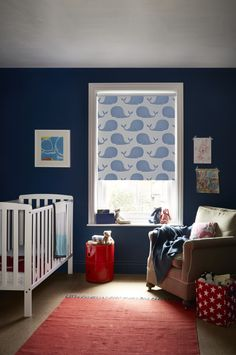 A pod of blue whales swim serenely across our Whalesby Ocean Blue blind. Designed with children in mind, this playful design is made from a specialist blackout fabric that helps stops unwanted light from getting in, promoting a good night's rest.