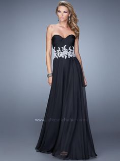 2015 A-line Black Chiffon Long Prom Dress /Formal Dress/Evening dress La Femme 21285