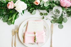#place-settings, #flatware  Connie Dai Photography / A Vintage Affair Events & Rentals / Violet Floral Design  Read More: http://www.stylemepretty.com/2014/12/12/blush-pink-mountain-lodge-wedding/