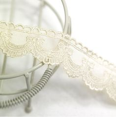 embroidered mesh lace 1yard (width 2.5cm) 40091-5 ivory. $2.40, via Etsy.