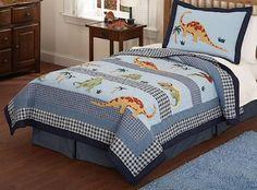 Dinosaur Roar Bedding Full/Queen Quilt Set for Boys Kids Dinosaur Cotton Bedspread Blue Plaid