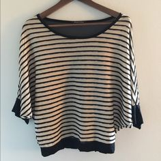 Striped Top Beautiful top! Worn once! Striped tan & black with black see-through material in the back. Can be worn off the shoulder as well! Foreign Exchange Tops