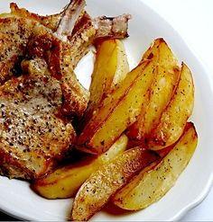 Greek baked lemon pork chops with potatoes. Greek Recipes, Desert Recipes, Pork Recipes, Wine Recipes, Cooking Recipes, Cooking Videos, Pork Chops And Potatoes, Baked Pork Chops, Greek Cooking