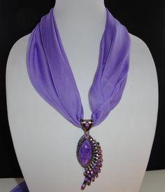 Scarf Jewelry Purple Peacock Chiffon Scarf by RuthsJewelryDesigns