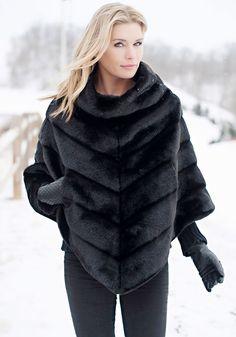 $150....Black Mink Bias-Cut Faux Fur Poncho