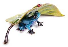 Under Cover AP Artist Proof: Original colorful patina solid bronze frog sculpture wildlife art by Frogman Tim Cotterill Undercover
