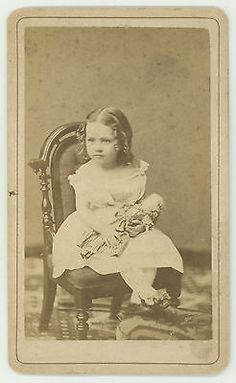 Antique Vintage CDV photo of LITTLE GIRL with Porcelain DOLL Cincinnati Ohio