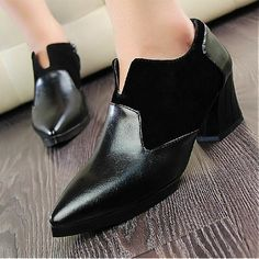 Womens Boots | Attractive Black PU Pointy Closed Toe Wedge Mid Heel Boots - Hugshoes.com