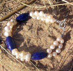"So pretty. $20.25 --- Lapis Lazuli & Ivory Freshwater Pearl Crystal Gemstone Bracelet - ""Blue Champange"""