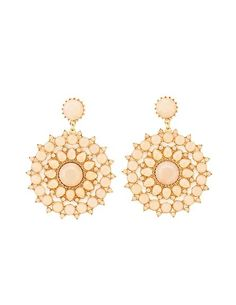 Faceted Stone Medallion Drop Earrings: Charlotte Russe