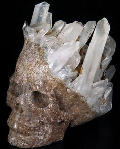 Natural rock below Quartz has been carved into a skull to appear as if quartz crystals are a natural crown ! Very clever and done hundreds of years ago ⭐️ Crystals Minerals, Rocks And Minerals, Crystals And Gemstones, Stones And Crystals, Quartz Rock, Crystal Skull, Rocks And Gems, Skull And Bones, Skull Art
