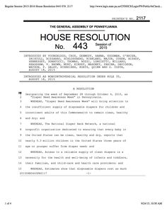 Pennsylvania House Resolution recognizing Diaper Need Awareness Week (Sept. 28 - Oct. 4, 2015) #DiaperNeed www.diaperneed.org