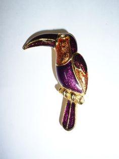 Jewelry Bird Tucan Parrot Enamel Pin Brooch Purple Bronze Glittery Gold Tone