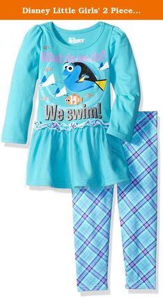Disney Little Girls' 2 Piece Finding Dory Tunic with Tulle and Legging, Blue, 4T. 2 piece finding dory long sleeve top with tulle and legging.