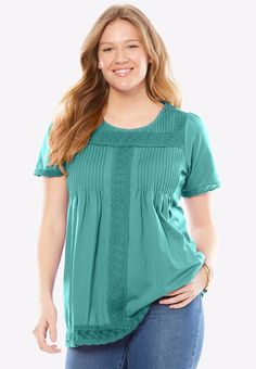 0fb7a51b24bfc Woman Within Lace-trimmed cotton tunic   blouse- plus size 1X (