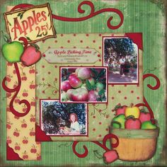 Apple-Picking Scrapbook Layouts   Apple Picking Time - Scrapbook.com Great layout!