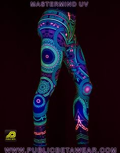 Mastermind D54 Leggings by Public Beta Wear  Immersive, blacklight reactive clothing. Psychedelic, cyber, futuristic motifs. Festival fashion. Active wear. Yoga.