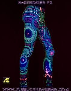 Mastermind D54 Leggings by Public Beta Wear  Immersive, blacklight reactive clothing. Psychedelic, cyber, futuristic motifs. Festival fashion. Active wear. Yoga.