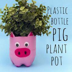 How to make a pig plant pot. Plastic bottle diy craft ideas. Kids farm animal crafts.