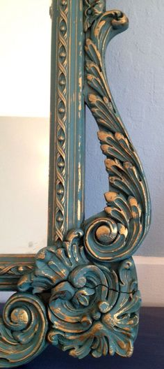 Large Ornate Vintage Mirror with Custom Paint by CarolinaRoad, $199.00