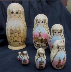 Rare Hand-Made Russian Matroshka Wooden Nesting Dolls w/ Church Design~ 7 Dolls