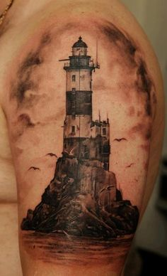 Tat Lighthouse Ink via FB: Black and grey tattoo art dmitriy samohin - lighthouse