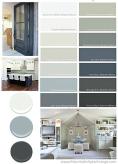 """Go To"" Paint Colors Versatile paint colors that consistently work well in different lighting situations. The Creativity ExchangeVersatile paint colors that consistently work well in different lighting situations. The Creativity Exchange Interior Paint Colors, Paint Colors For Home, Paint Colours, Interior Painting, Gray Interior, Furniture Paint Colors, Blue Grey Paint Color, House Color Schemes Interior, Basement Color Schemes"