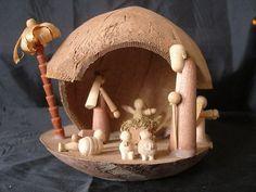 Vintage Coconut Creche Nativity Scene Hawaii Handmade (Christmas Manger Scene) on eBay!