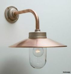 Angled copper exterior lights, Swan neck wall lights, Classic exterior lighting, Exterior lighting, Holloways of Ludlow