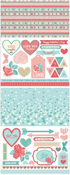 Valentine's Day free printable papers - download them for card making and scrapbooking!