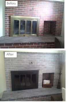 "Our new house had a lovely retro red brick fireplace with brass finishes, which I wanted to ""tone down"" and make look more updated.  All it took was:  - Simple white paint, watered way down - Foam brush or brushes, as mine fell apart about halfway through - Rags - Make sure you have plenty - Spray paint.  I picked Rustoleum High Heat in black. - Drop cloths/newspaper  - Face mask - Painters tape Its a basic white-wash, paint, then wipe, repeat.  Spray brass with paint.  Viola!"