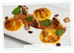 Ravioli van mango, geitenkaas en Luikse stroop en foie gras