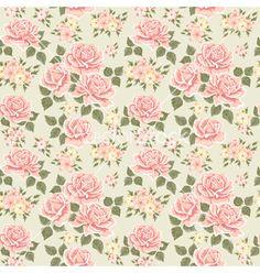 Pink vintage rose pattern vector by sticknote on VectorStock®