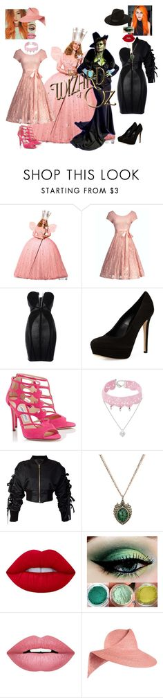 """""""Zelena and Glinda- The Witches"""" by batgirl-at-the-disco3 ❤ liked on Polyvore featuring Hervé Léger, Charles David, Jimmy Choo, Design Lab, storets, Sevan Biçakçi, Lime Crime, Forever 21, Eugenia Kim and Lack of Color"""