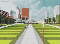 A park in the Minecraft Ono City Minecraft Park, Sidewalk, Side Walkway, Walkway, Walkways, Pavement