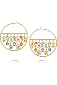 MARIE-HÉLÈNE DE TAILLAC  1001 Nights 18-karat gold multi-stone hoop earrings  £6,732.69