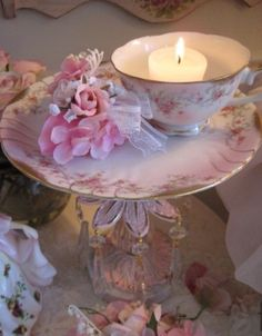 Shabby chic vintage cup tea light holder